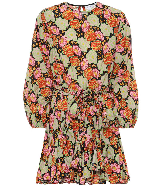 RHODE Ella floral cotton minidress in brown