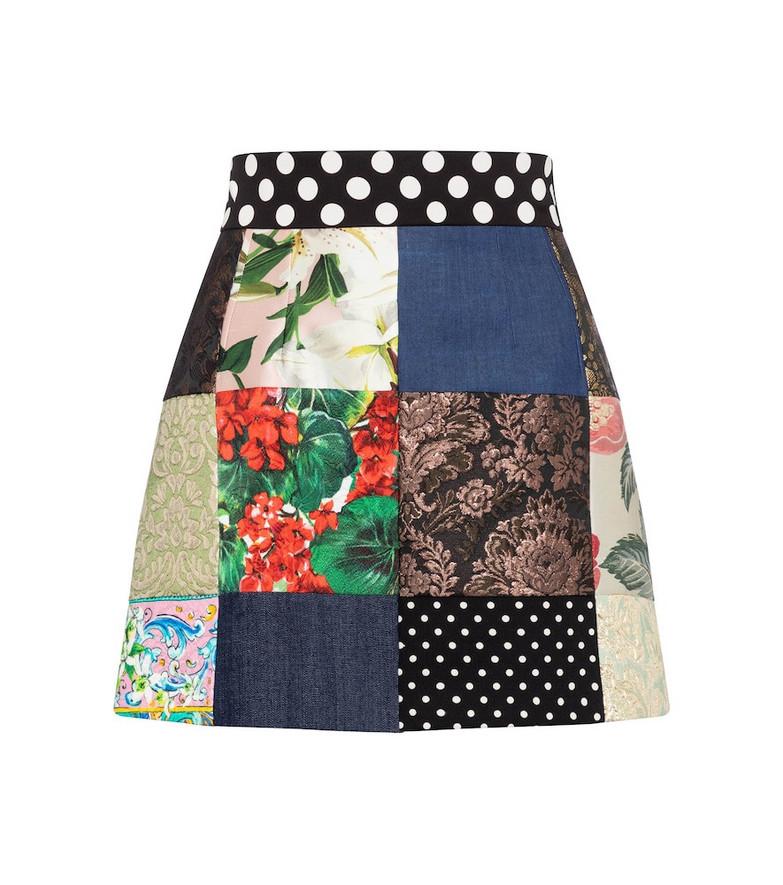 Dolce & Gabbana Patchwork cotton-blend miniskirt