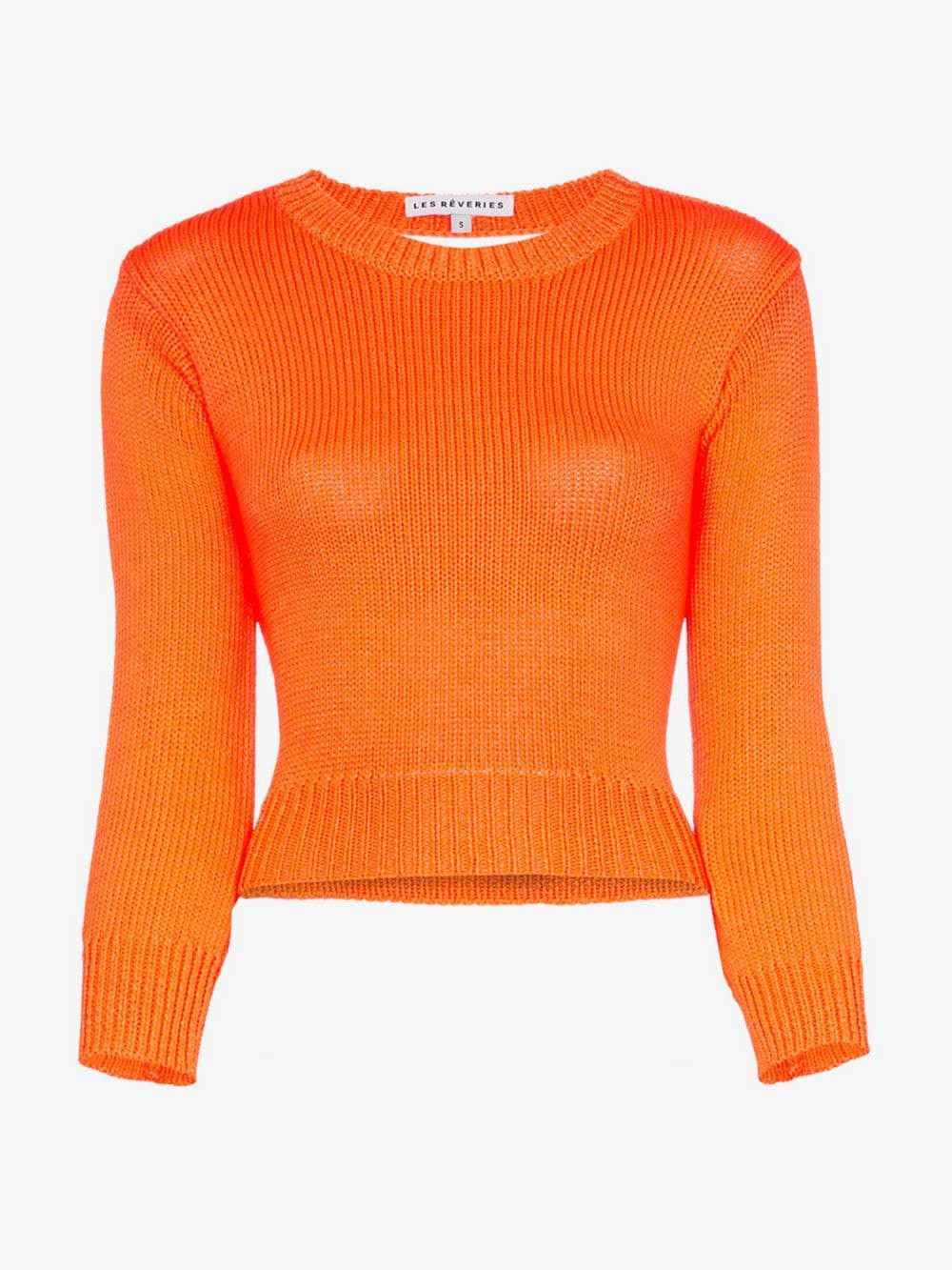Les Reveries backless long-sleeved knitted crop top in orange