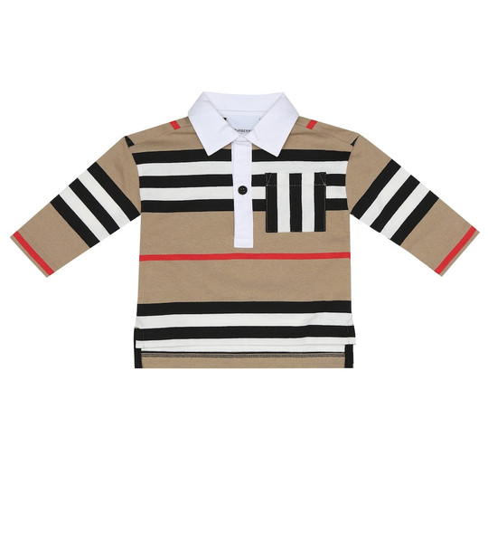 Burberry Kids Baby Icon Stripe cotton polo top in beige