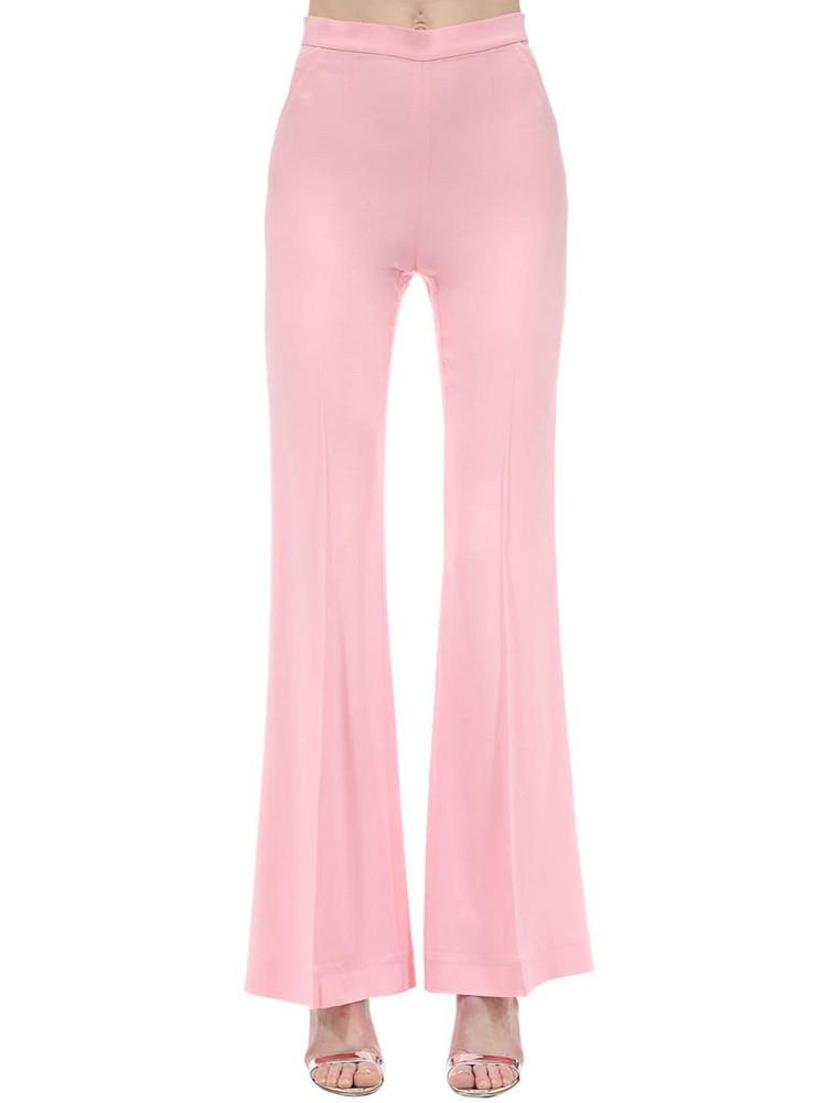 MARIANNA SENCHINA High Waist Flared Viscose Crepe Pants in pink