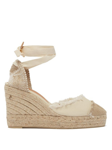 Castañer - Catalina 80 Canvas & Jute Espadrille Wedges - Womens - Cream