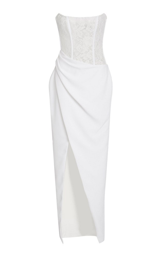Rasario Exclusive Strapless Chantilly Lace Midi Dress in white