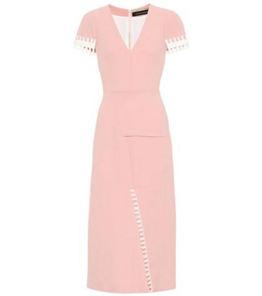 Roland Mouret Fortana wool crêpe dress in pink