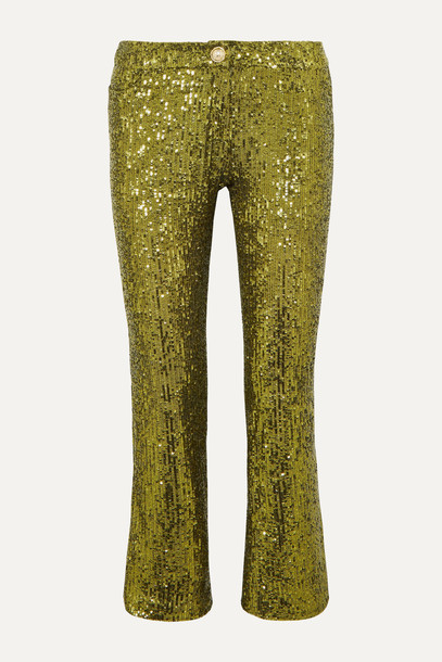 BALMAIN - Cropped Sequined Stretch-tulle Flared Pants - Gold