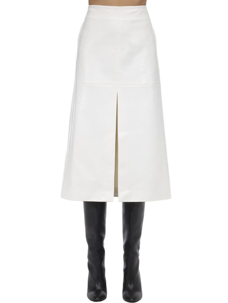 WE11 DONE Python Print Faux Leather Midi Skirt in white