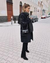 bag,chanel bag,crossbody bag,black boots,black pants,coat,scarf