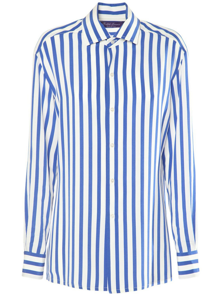 RALPH LAUREN COLLECTION Printed Silk Crepe De Chine Shirt in blue / white
