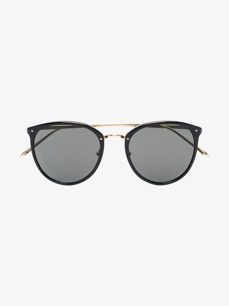Linda Farrow black Calthorpe round sunglasses