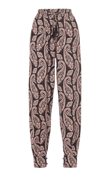 Etro Paisley Cotton Tapered Pants Size: 40 in black
