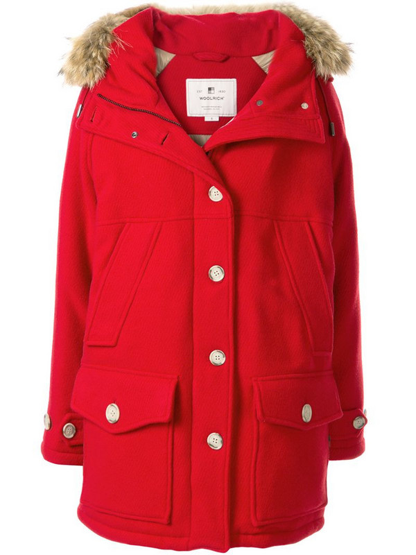Woolrich hooded parka jacket in red