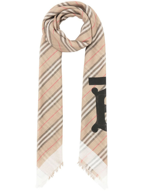 Burberry Striped Scarf With Monogram in beige