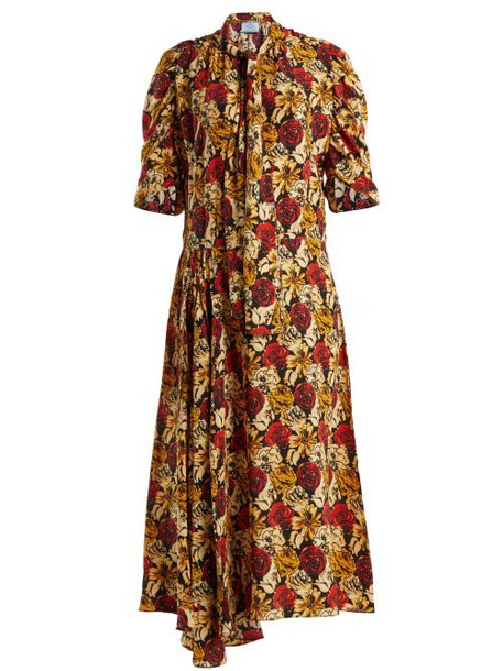 Prada - Marocaine Floral Print Silk Dress - Womens - Yellow Print