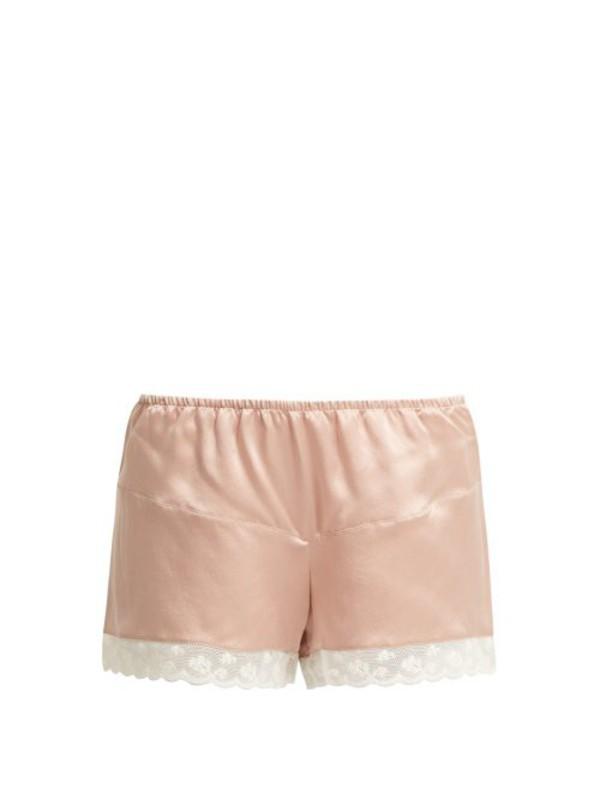 MORPHO + LUNA Morpho + Luna - Bina Lace Trimmed Silk Shorts - Womens - Dark Pink