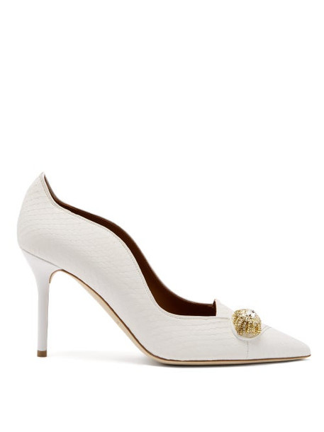 Malone Souliers - Alessia Crystal-brooch Elaphe Pumps - Womens - White