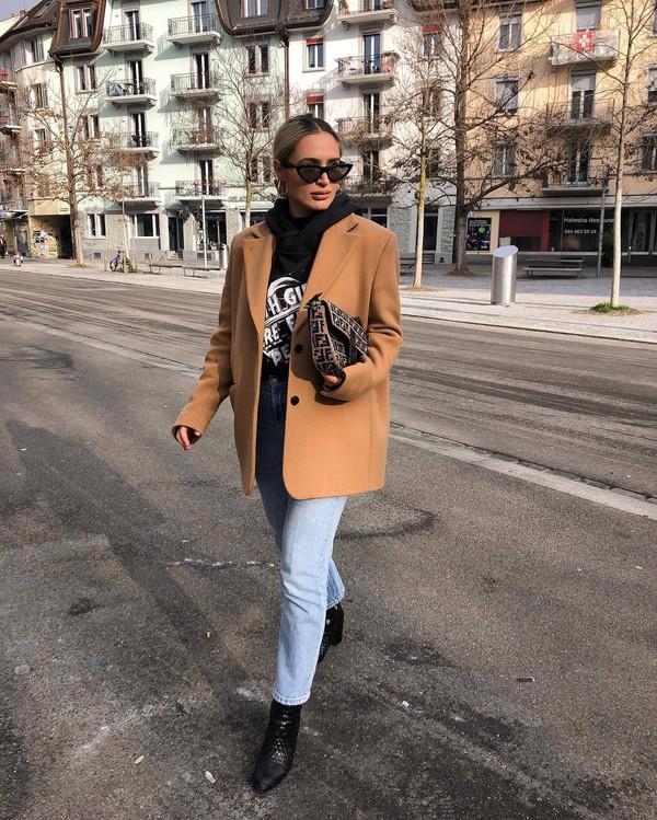 jacket oversized blazer camel wool blazer black boots heel boots straight jeans high waisted jeans brown bag fendi black hoodie black sunglasses