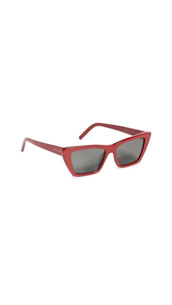 Saint Laurent Narrow Cat Eye Sunglasses in grey / red
