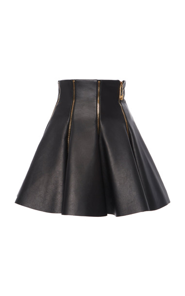 Versace Zip-Detailed Flared Leather Skirt in black