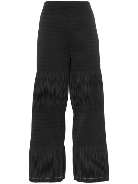 AREA pleated crop trousers in black
