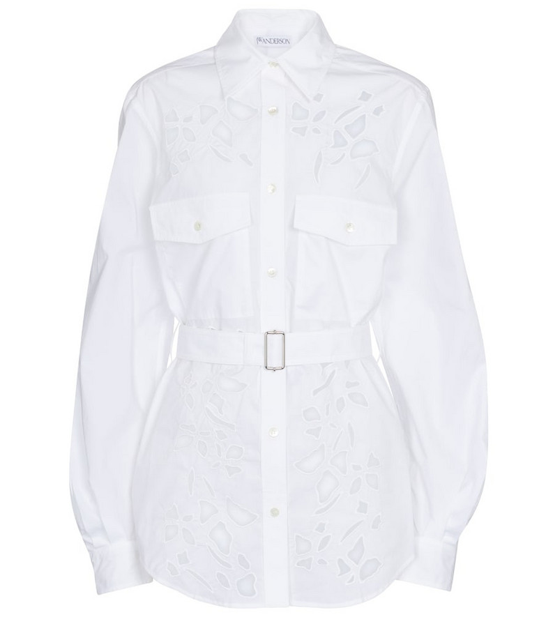 JW Anderson Belted cutout cotton poplin shirt in white