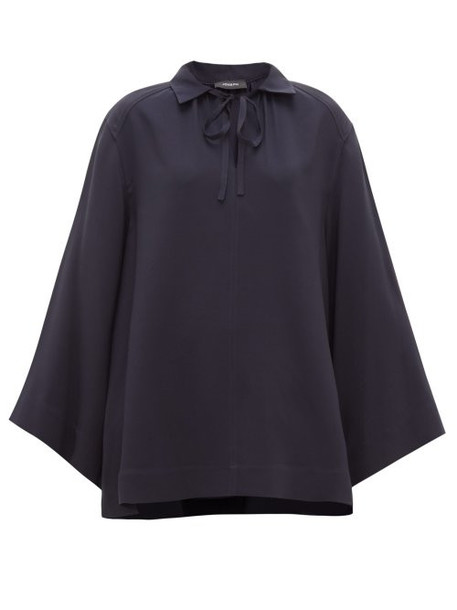 Joseph - Fran Wide Sleeve Collared Silk Blouse - Womens - Navy