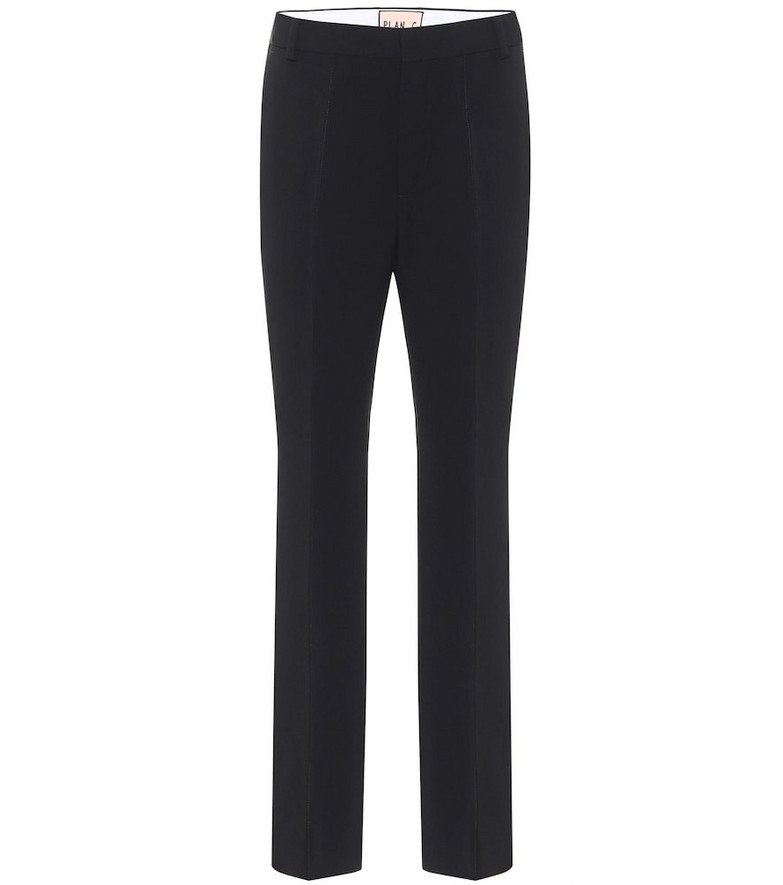 Plan C High-rise straight cropped pants in black