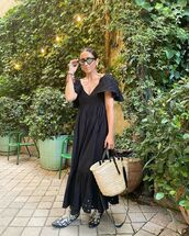 dress,black dress,embroidered,cowboy boots,woven bag
