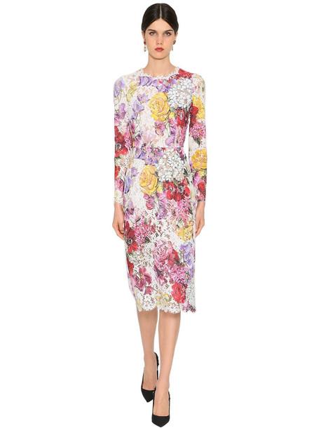 DOLCE & GABBANA Floral Print Lace Midi Dress in white