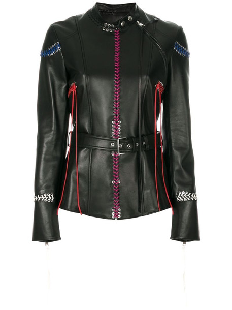 Alexander McQueen Whip-Stitched leather jacket in black