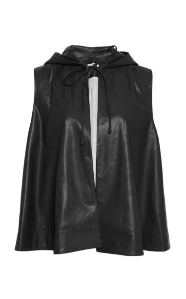 Deitas Veste Organic Vegan Leather Hooded Cape in black