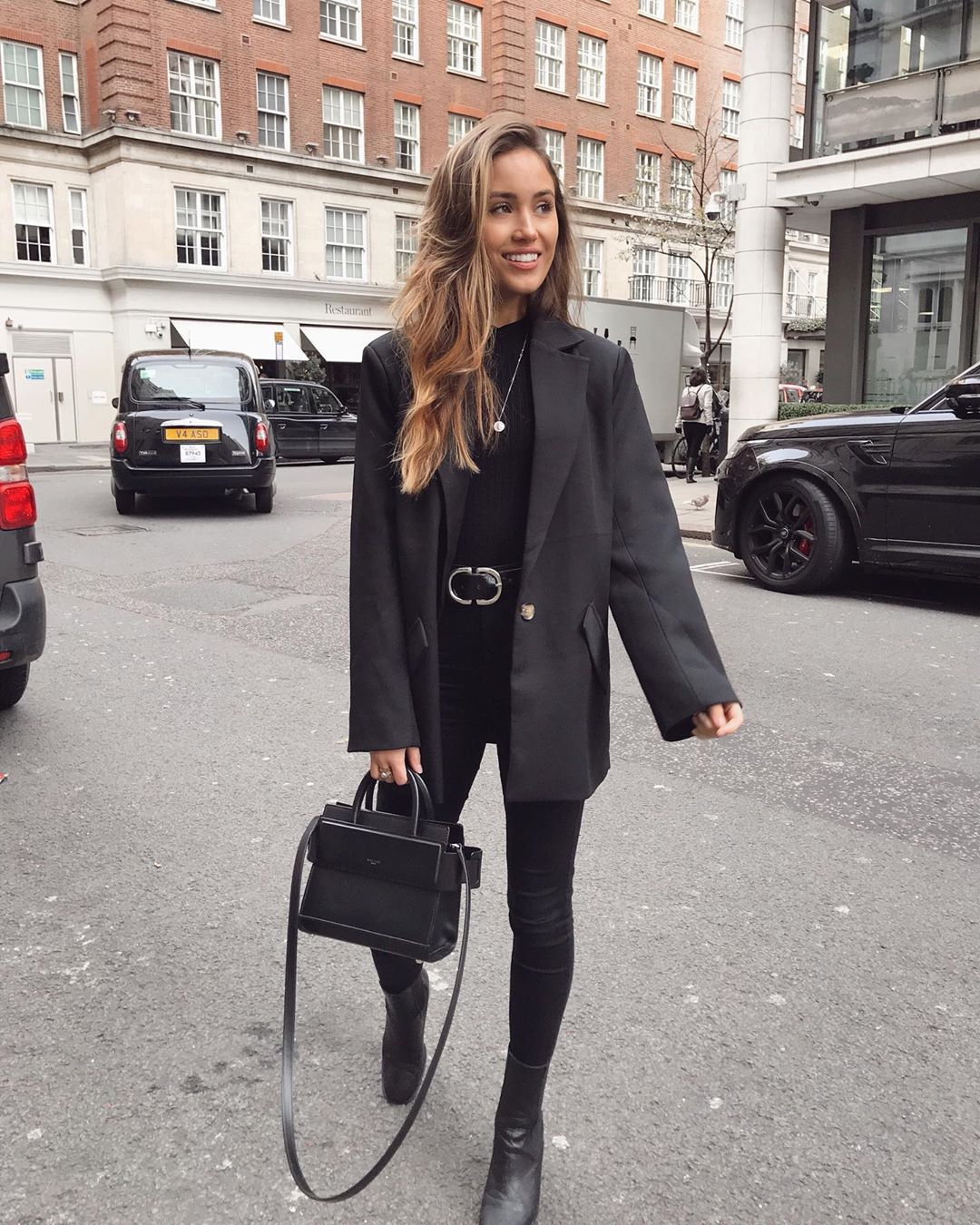 jacket black blazer ankle boots black boots black skinny jeans black bag black top
