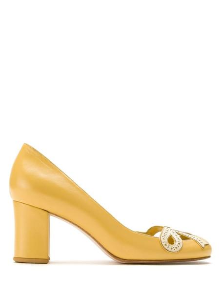 Sarah Chofakian Audrey pumps in yellow