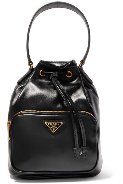 Prada - Vela Small Leather Bucket Bag - Black