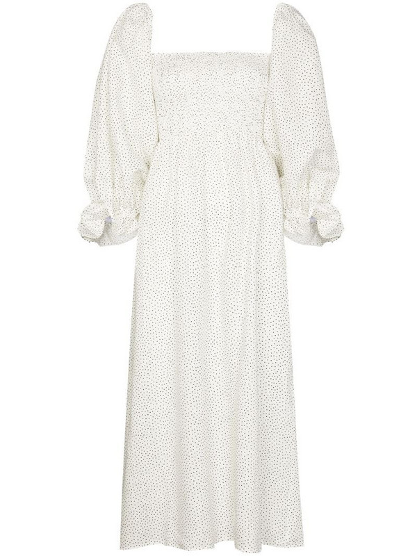 Sleeper Atlanta polka-dot linen midi dress in white