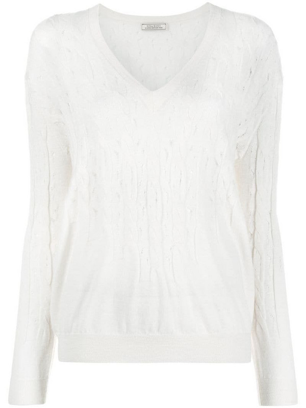 Nina Ricci cable knit jumper in white