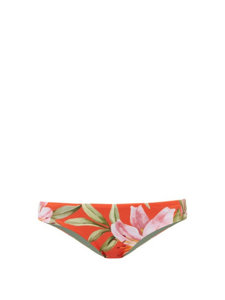 Mara Hoffman - Zoa Lily Print Bikini Briefs - Womens - Red Multi