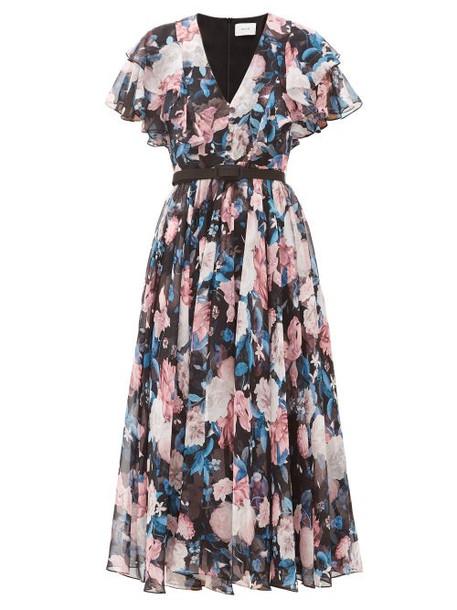 Erdem - Garland Dusk Bouquet-print Silk-chiffon Dress - Womens - Black Pink