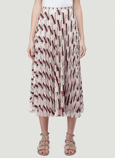 Valentino V Print Silk-Twill Skirt in Pink size IT - 42