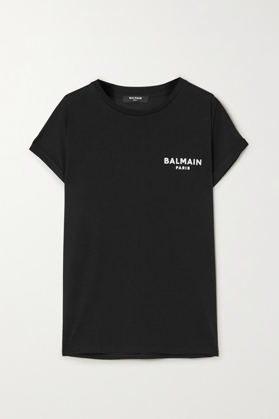 BALMAIN - Flocked Cotton-jersey T-shirt - Black