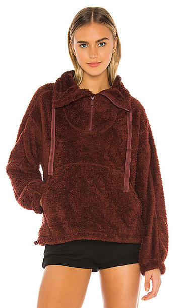 Free People X FP Movement Big Sky Hi Neck Pullover in Brown