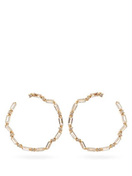 Suzanne Kalan - Diamond, Topaz & 14kt Gold Hoop Earrings - Womens - Yellow Gold