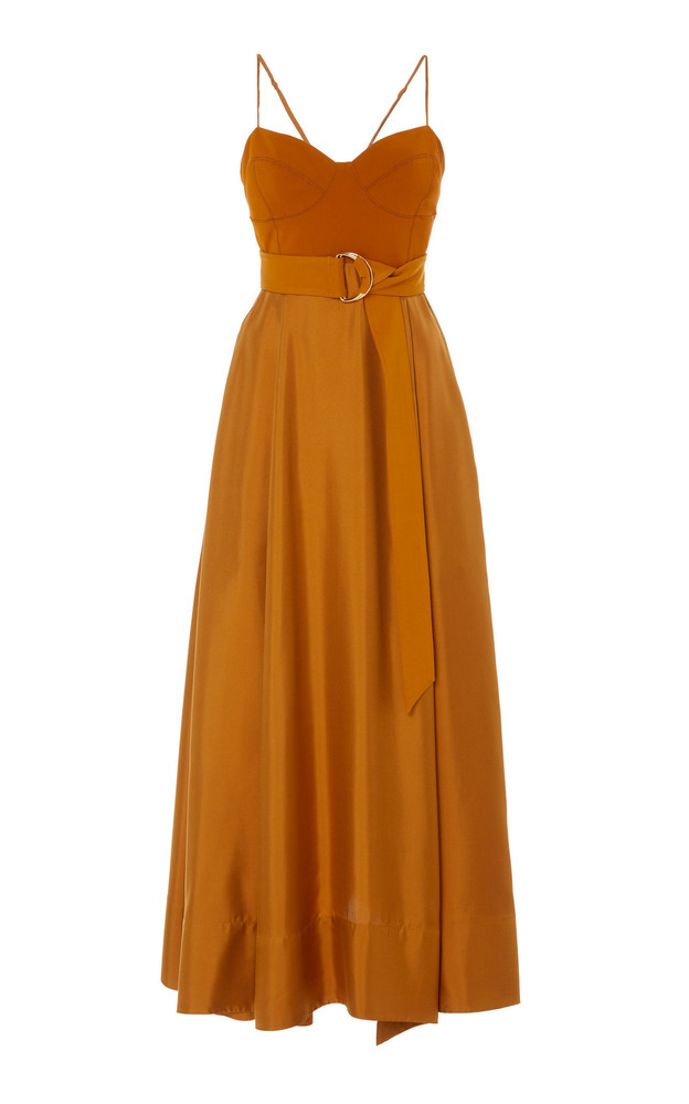 AMUR Tempest Belted Silk Dress in yellow