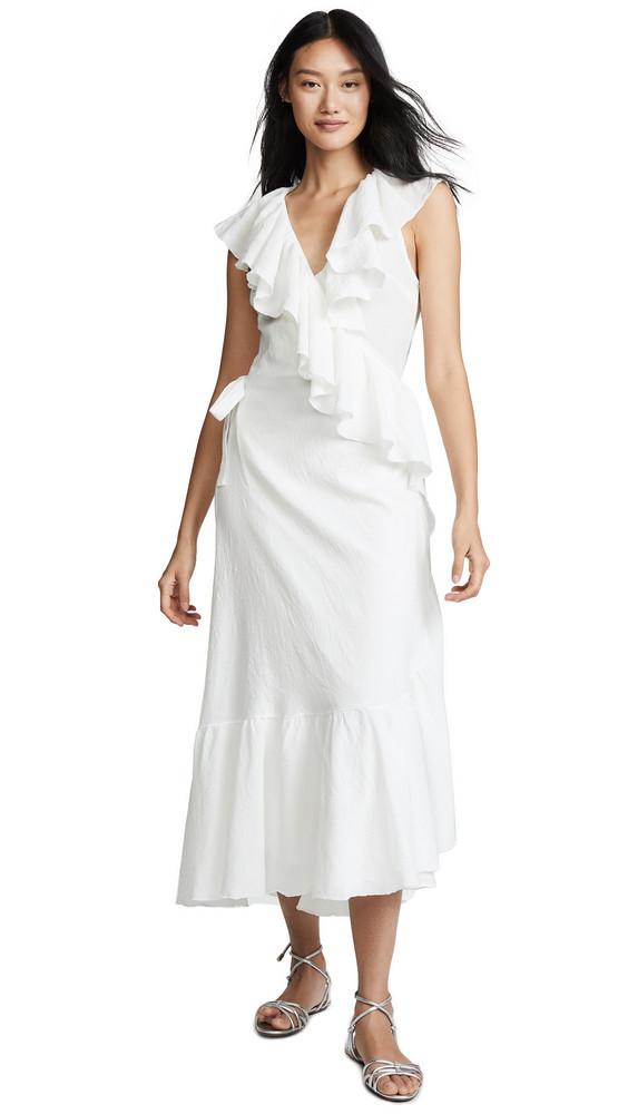 9seed Granada Ruffle Wrap Dress in white