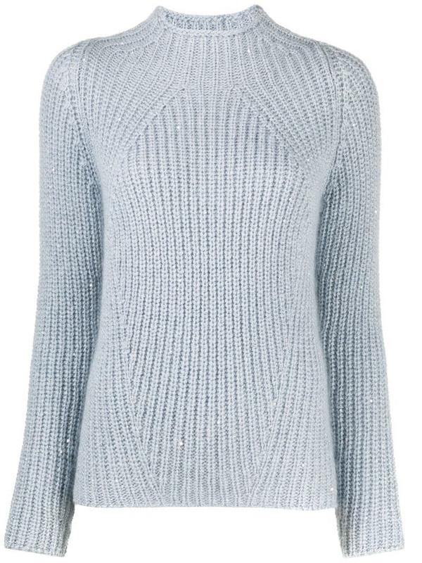 Gentry Portofino cable knit jumper in blue