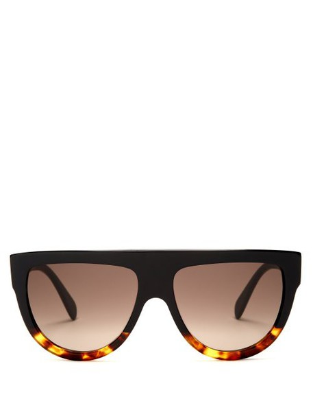 Celine Eyewear - Aviator D Frame Acetate Sunglasses - Womens - Black Multi