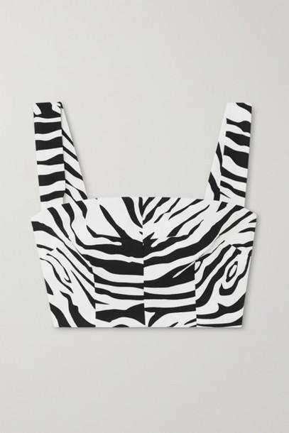Dolce & Gabbana - Cropped Zebra-print Cotton-blend Top - White
