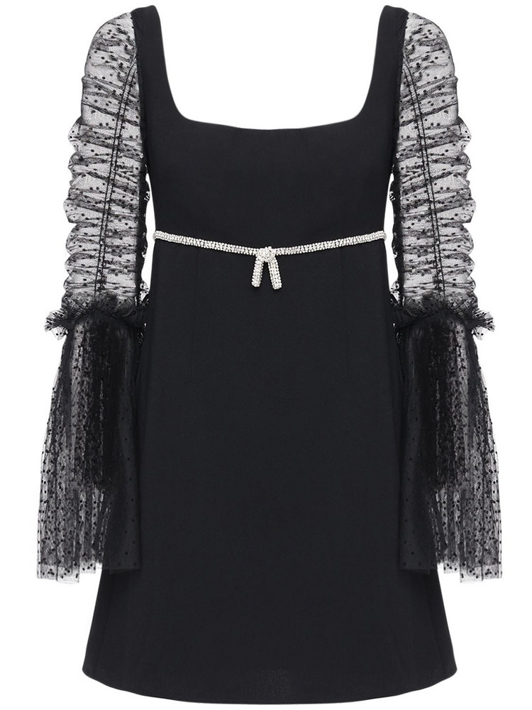 SELF-PORTRAIT Dot Mesh & Crepe Mini Dress W/ Crystals in black