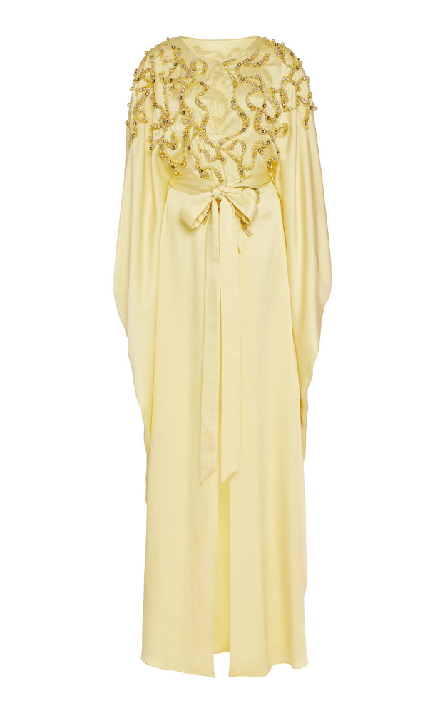 Marchesa Embellished Crepe De Chine Caftan Dress Size: S in yellow