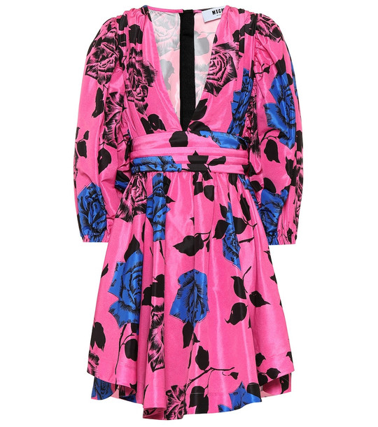 MSGM Floral technical minidress in pink