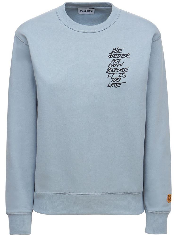 KENZO Embroidered Cotton Sweatshirt in blue